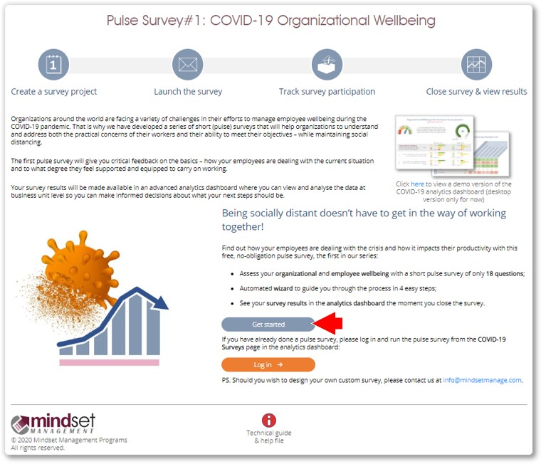 COVID-19 survey wizard landing page