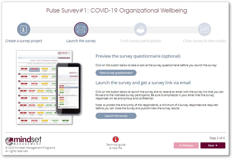 COVID-19 pulse survey wizard step 2